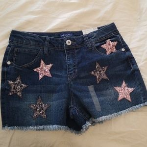 New Arizona Girls Denim Star Short Shorts